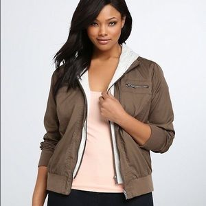 Torrid Bomber Jersey Hooded Jacket